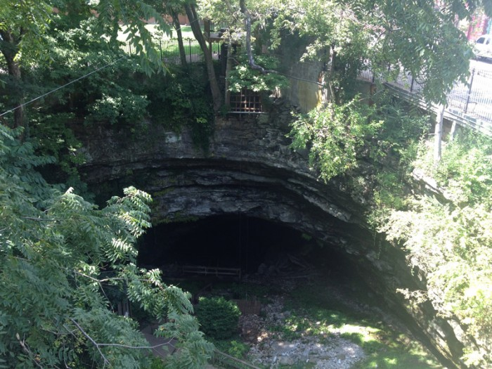 A look from above at Hidden River Cave... Yes we repelled down the face of the cave