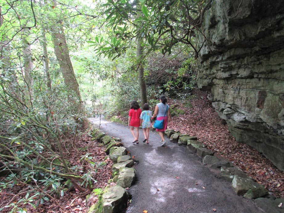 Walking the grounds of falling water. There are miles of paths surrounding the house.