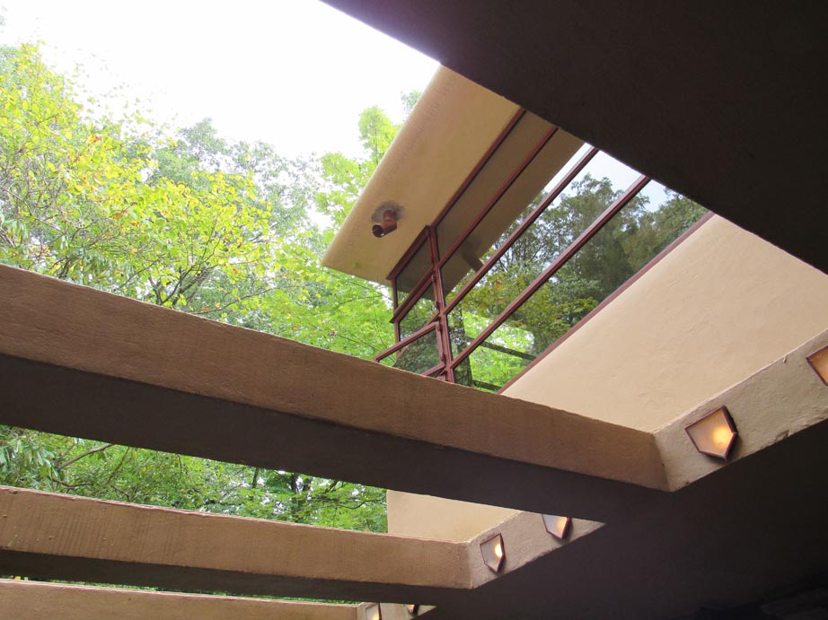 Wright refused to have elements that would distract from the design. Many of his house have gutters to nowhere.