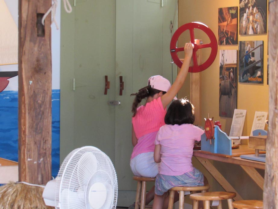 They had a science area where the kids learned about weights and pulleys, air currents across sails, rudders and ocean currents, the room was packed with exhibits.