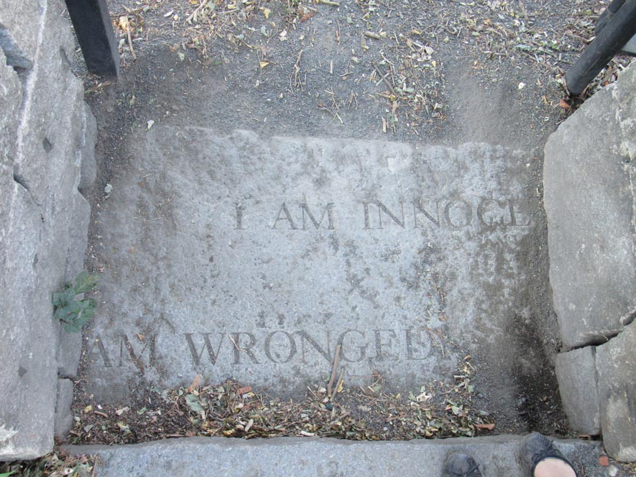 This stone is engraved with a statement honoring those that died durning the witch trials.