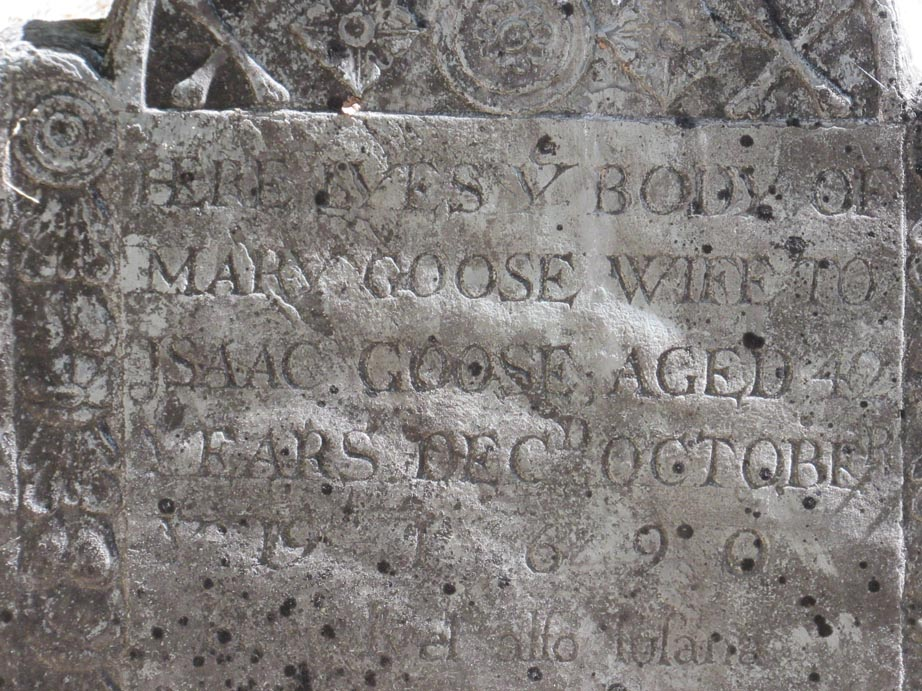 Mother Goose's grave stone.