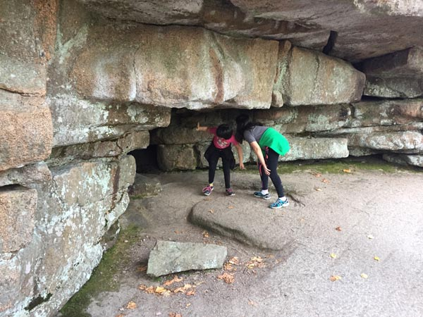 This I suppose would be the closest piece we found to a cave. The kids refused to climb into the hole, that is about as far as they got.