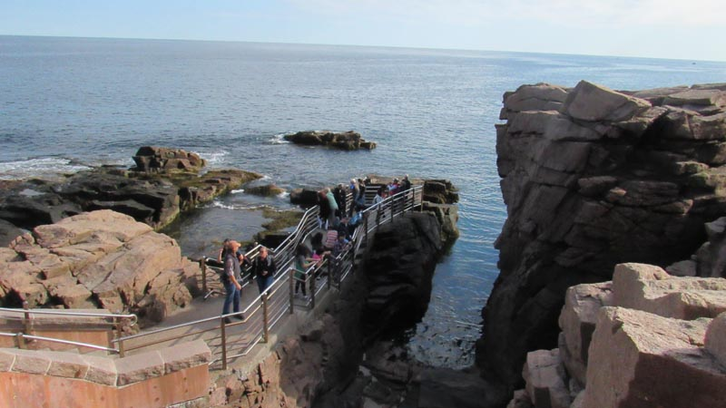 This is Thunder Hole. When the ocean is rough and at high tide, giant waves crash into this area causing an amazing show.