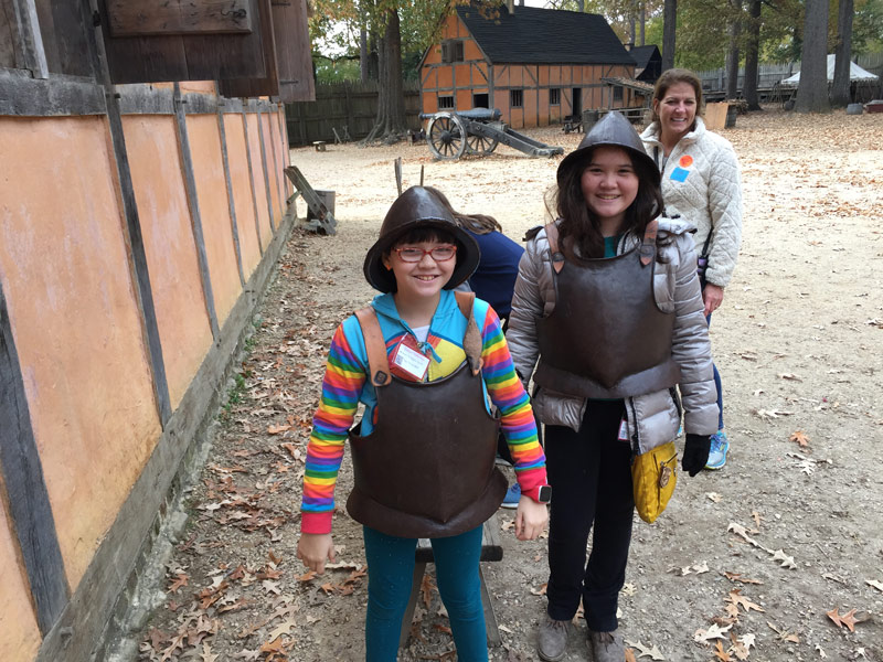 James Fort left armor around for the kids to try on and wear around. We put these two to work straight away.