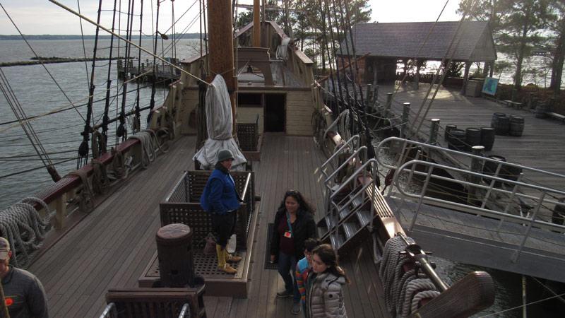 Touring a ship.