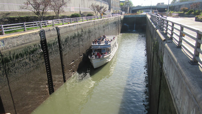 Erie canal Water dropping in lock