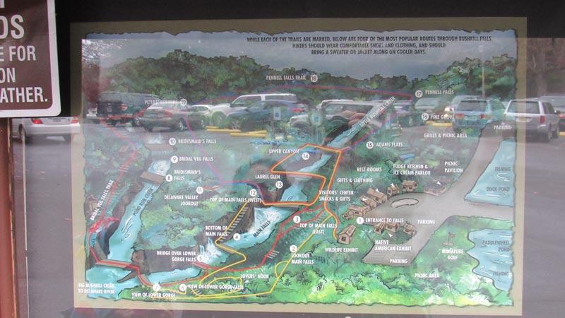 Map of Bushkill Falls trails