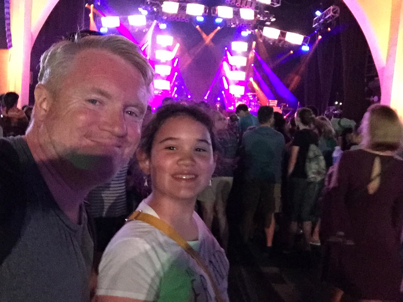 My daughter in I waiting for Andy Grammer at Universal Studios