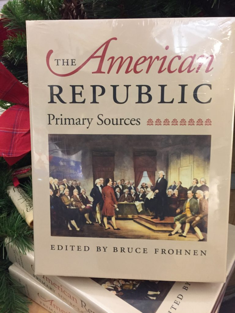 A collection of primary sources. This book is purchasable in the store and I have to do so some day. It is an amazing collection of the letters, writings, notes and documents during our early republic.