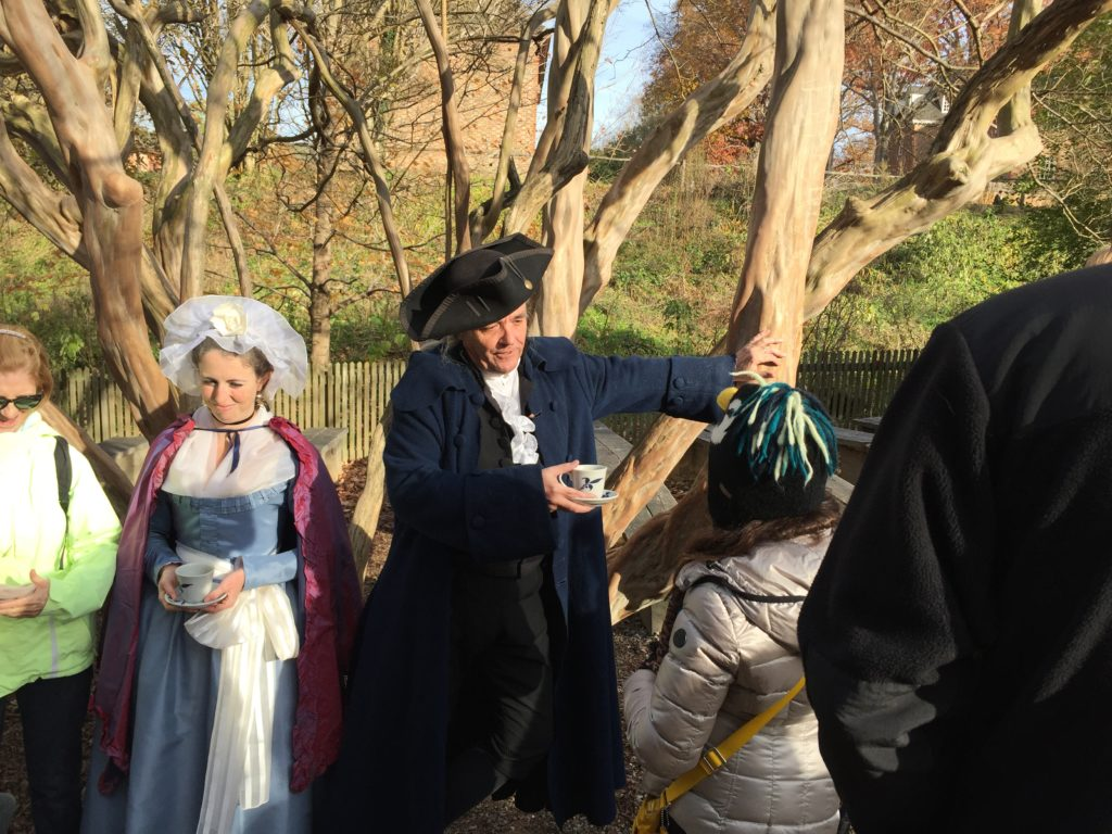 George and Martha Washington have a discussion with Nina. She had many questions.