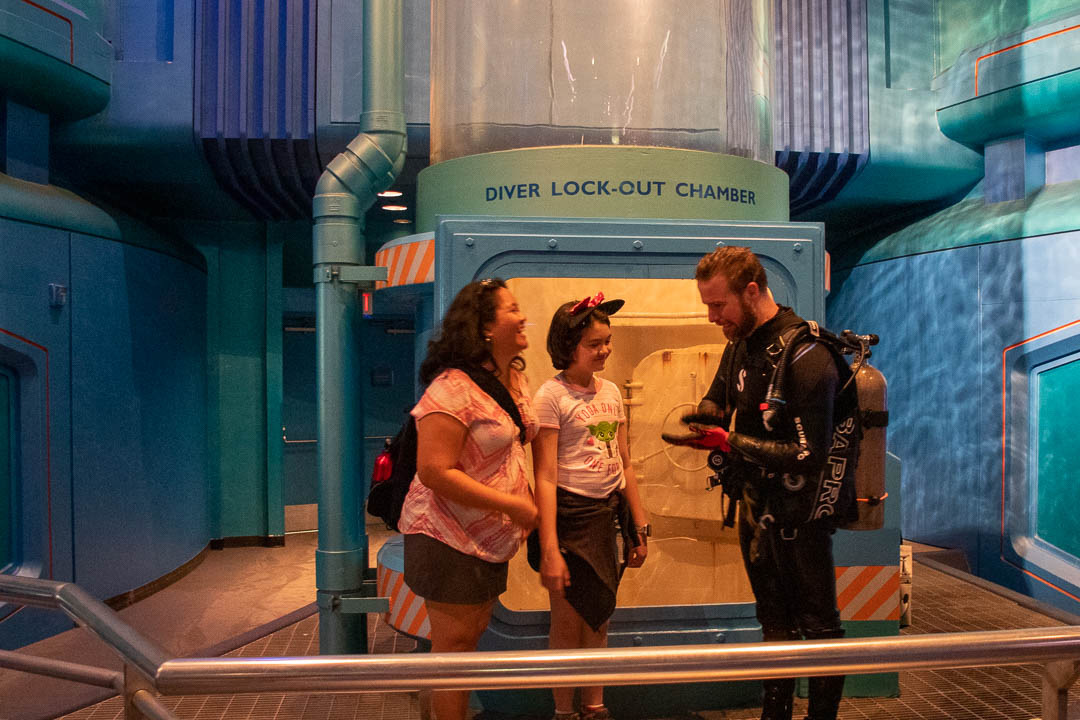 Hanging out with a diver at Epcot.